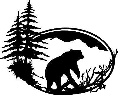 "Grizzly Bear Wildlife Vinyl Decals Window Stickers (14"" x 11"")"