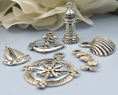 Anchors Away! Set of 6 NAUTICAL Charms, Antique Silver Mixed Marine Collection