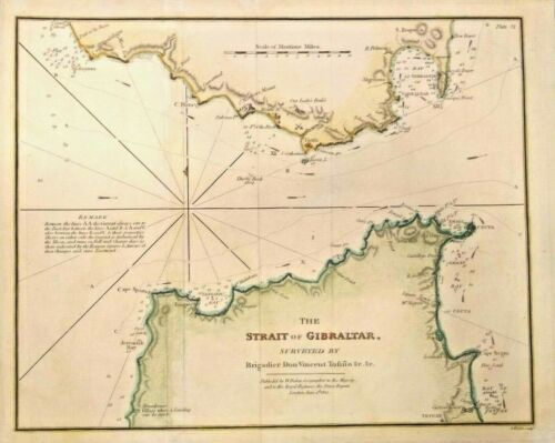 RARE Beautiful Antique map of The Strait of Gibraltar1812 Colorful and Frameable