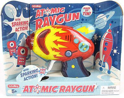 ATOMIC Raygun Sparking Friction Tin Litho Metal Blaster Laser Ray gun Space Toy
