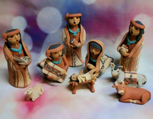 Jemez Pueblo Native American Art Pottery 9 Pc Nativity Set CAROL LUCERO GACHUPIN