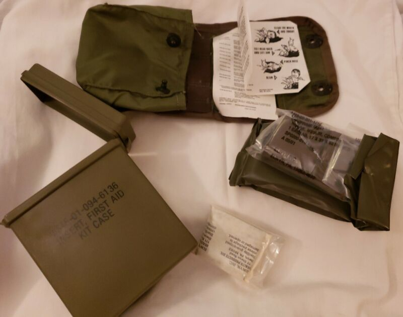 Vintage US Military Individual First Aid Kit Alice Belt Pouch