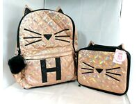 Justice Set of 2 Initial School Backpack /& Lunch Tote Rose Gold Quilted Cat B