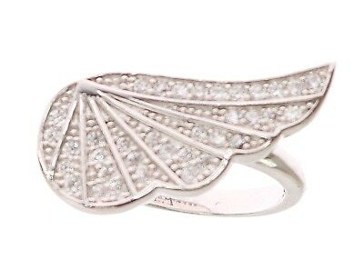 NEW NIALAYA Ring Authentic Womens Wing Clear CZ 925 Silver s. US5 / EU50