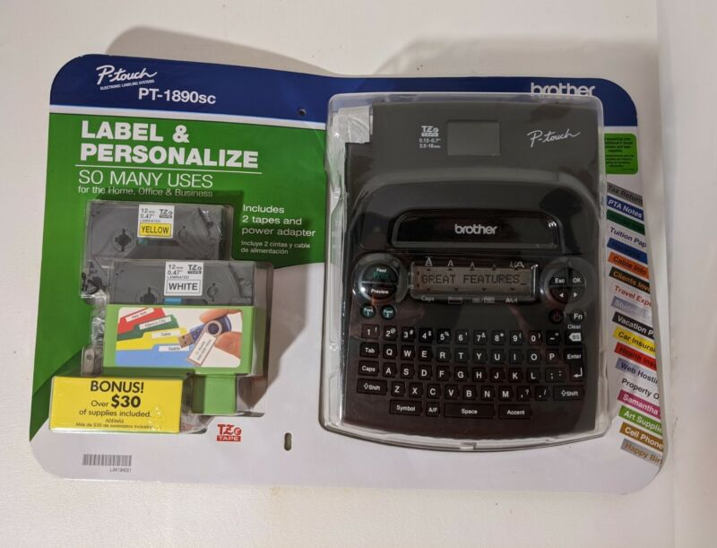 Brother P-Touch PT-1890SC Home & Office Labeler AC Adapter  2 TZe Tapes NEW