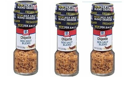 3 McCormick Chipotle Sea Salt Blend Grinder 2.32 oz Best By 3-19 Mexican Rare