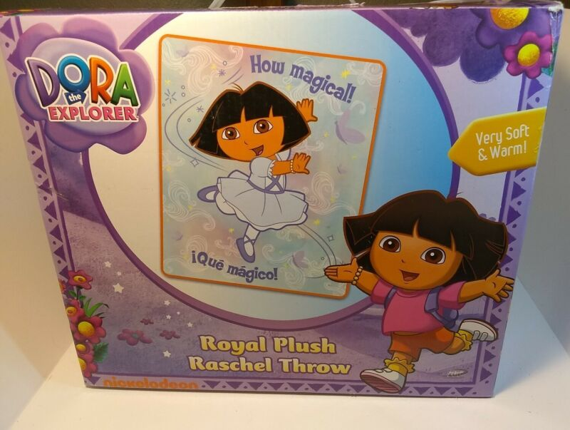 "Dora The Explorer Royal Plush Raschel Throw 40"" x 50"" Fleece Polyester Vintage"