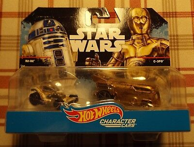 '16 HOT WHEELS STAR WARS Character Cars 2 Pack DIRTY/MUDDY R2-D2 C-3PO BLK CARD - Black Star Wars Characters
