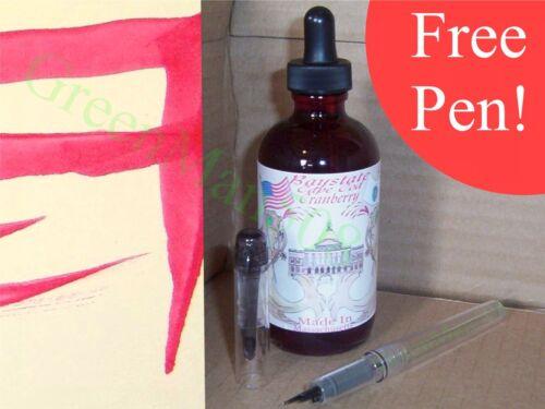 Noodler's BayState Cranberry Ink 4.5 oz Eyedropper  #19813 w/FREE PEN