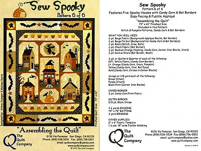 Sew Spooky Fall Autumn Halloween Town Witch Bat Set of 6 Quilt Company Patterns - Halloweentown 6