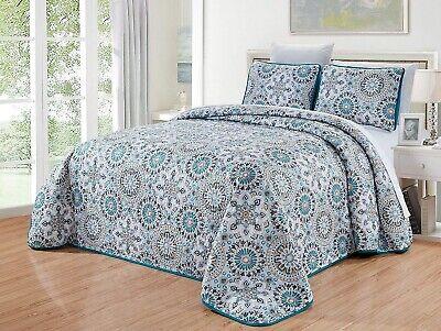 Grey Purple Teal Blue Medallion Reversible Quilt King Size Coverlet Bedspread ()