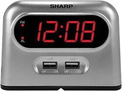 Sharp Fast Charge 2 x 2 AMP USB Digital Alarm Clock Gray iPhone Android SPC193