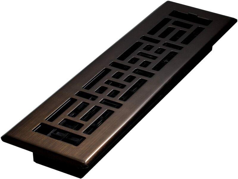 Oriental Steel Plated Floor Register 2x12 Rubbed Bronze Vent Cover