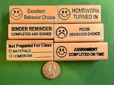 Binder Reminders -- 6-Piece Teacher's Rubber Stamp Set
