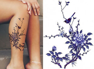 0f9c0caccad7b Temporary Tattoo Bird Tree Flower Blue Body Art Fake Waterproof Sheet Ladies
