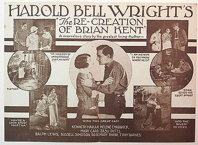 THE RE-CREATION OF BRIAN KENT Rare 1925 KENNETH HARLAN Silent Film MOVIE HERALD