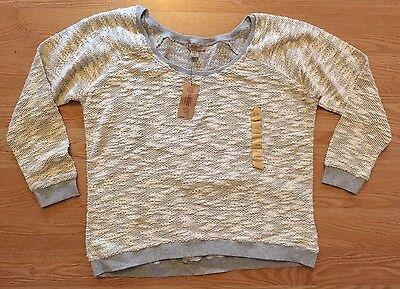 NWT Women's NINE WEST White Gray Rounded Neck Long Sleeve Sweater Size Large L