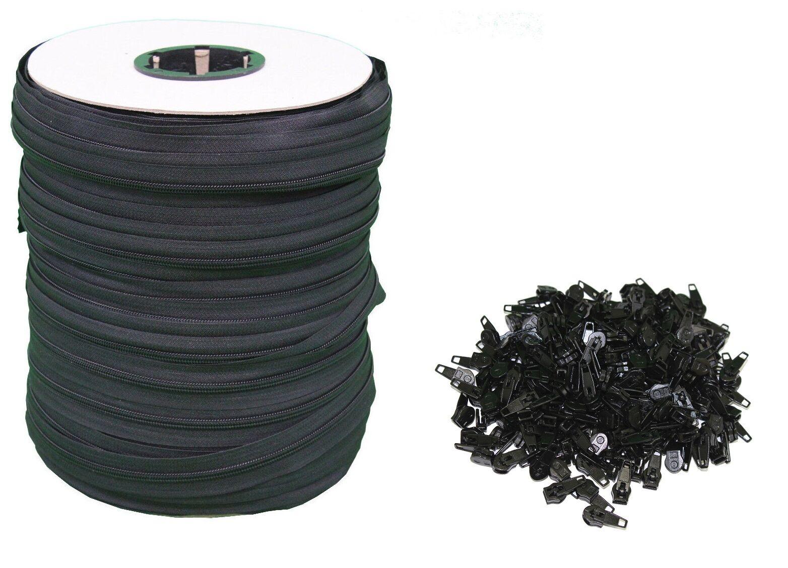 Black #5 Zipper 250 Yards [750 Ft] Roll – Includes 250 Zipper Heads Closures & Connectors