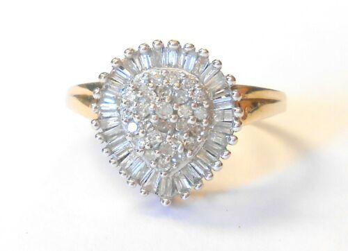 Vintage Diamond Teardrop Cluster 10K Yellow & White Gold Ladies Ring Size 7.5