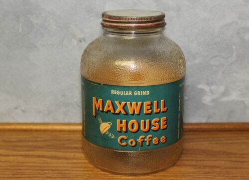 Vintage Maxwell House Coffee Jar w/paper Label Lid Nice can farm house store