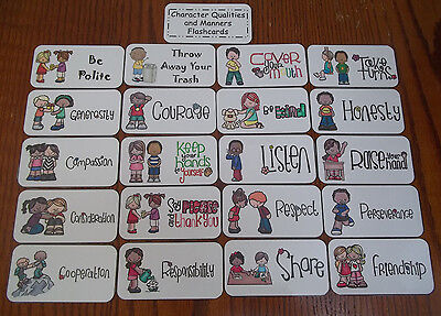 Manners themed Flash Cards.  Preschool Picture and Word Flash Cards for - Word Flash Cards