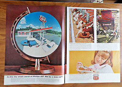1965  Phillips 66 Oil Ad  Whole World of Phillips 6 pgs
