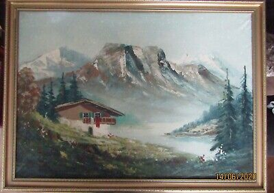 Untitled oil painting of an Alpine View by Martini, framed