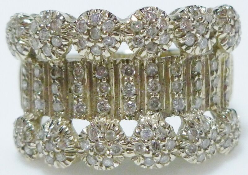 14K WHITE GOLD 1.00CT DIAMOND COCKTAIL CUSTER DESIGNER NUMBERED WIDE RING BAND