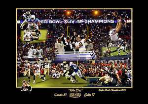 NEW ORLEANS SAINTS FOOTBALL NFL SUPER BOWL S/N PRINT