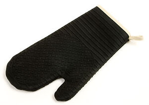 Norpro Silicone Fabric Oven Mitt Glove Baking Cooking Hot Pad Black New