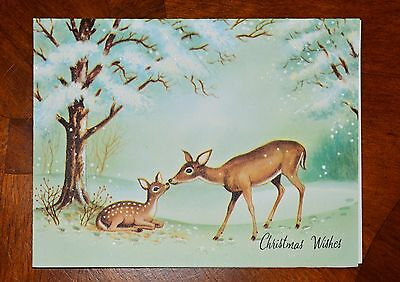 Vintage UNUSED Christmas Card GLITTER DOE & FAWN KISSING FROLICKING Mid-Century