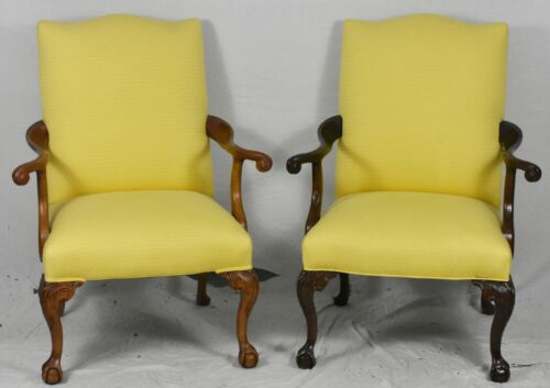 Pair Of Chippendale Solid Mahogany Carved Arm Chairs Claw & Ball Feet