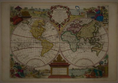 1748 Elegant Genuine Antique map World East & West Hemispheres. Le Rouge