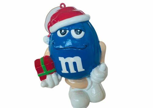 M&Ms Christmas ornament vtg Holiday figurine candy M gift decor santa hat Blue