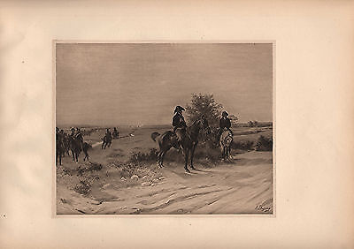 ANTIQUE MILITARY PRINT ~ BATTLE OF WATERLOO (1815) ROYAL SCOTS BROWN BESS RIFLE