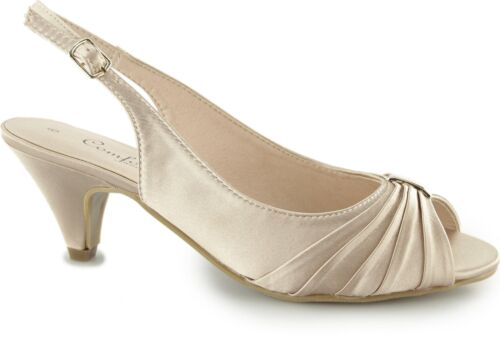 5e064bdd216 Comfort Plus TESS Ladies Women Formal Wide E Fit Slingback Satin Shoes Nude
