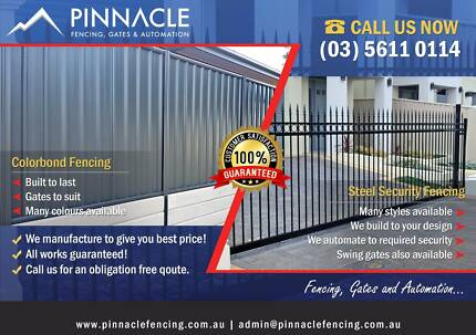 Colorbond Fencing, Steel Aluminium Slat Fencing Electric Sliding Gates