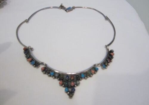 VINTAGE SIGNED MEXICO STERLING MULTI STONE BIB NECKLACE