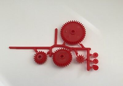 4 Pc. Gear Set With 3 Bushings - Plastic Mechanical Gears - Red - New
