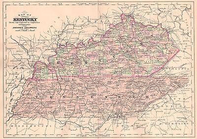 Original 1892 Antique Map KENTUCKY Lexington Louisville Owensboro Frankfort KY