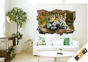 Wandtattoo Aufkleber Leopard Tier Natur Katze Wandsticker 3D Look Bild D063