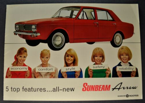 1967 Sunbeam Arrow Sedan Catalog Sales Brochure Excellent Original 67 Canadian