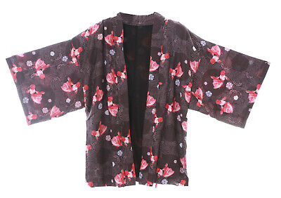 KJ-07 Schwarz Goldfisch Sakura Kirschblüten Haori Über-Jacke Japan Kimono Yukata