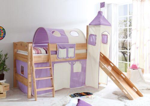rutschbett hochbett rutsche turm kinderbett buche natur massiv lila beige neu - Hausgemachte Etagenbetten Mit Rutsche