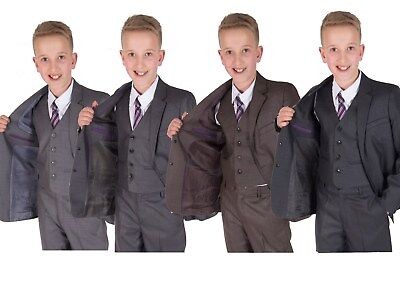 Boys Suits Grey 5 Piece Wedding Suit Page Boy Party Prom Suit 2-12 Years (Boys Suits Grey)