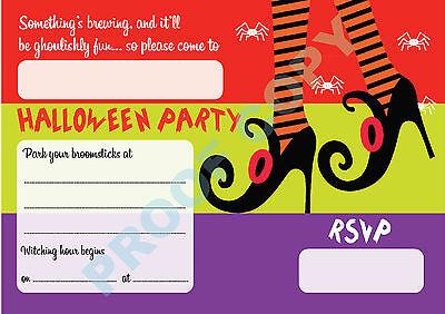 #64 HALLOWEEN Pack of 10 witches feet kids children birthday party - Kids Halloween Birthday Invitations