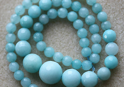 Jade Malaysian Turquoise/Aqua Coloured Graduated Faceted Rounds - Full Strand