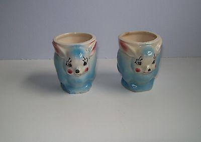 Vintage Ceramic Bunny Egg Cups Blue & Pink Egg Cups Japan