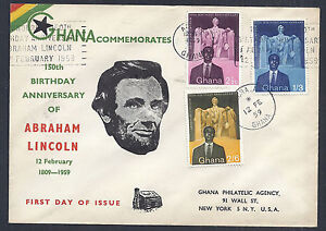 Ghana-FDC-150th-Birthday-Anniversary-of-Abraham-Lincoln-1959-SC-39-41