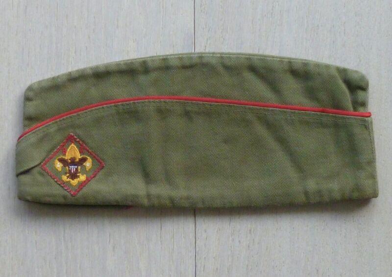 BSA Boy Scouts of America Garrison Hat Cap w/ Patch 1960 1970 Vintage - Large